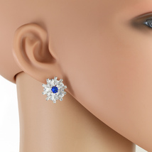 UNITED ELEGANCE Silver Tone Faux Sapphire Earrings With Swarovski Style Crystals - $19.99