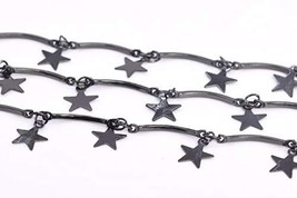 1 FT - 1x7MM Star Slice Square Curved Tube Chain Black Tone Brass Chains... - $11.86