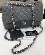 100% Authentic Chanel Dark Grey QUILTED LAMBSKIN JUMBO CLASSIC FLAP BAG SHW
