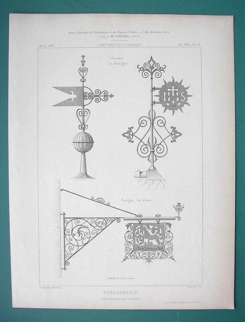 ARCHITECTURE PRINT 1869: IRON WORK Ornamental Renaissance Finials