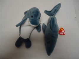 Ty Beanie Babies with Tags Echo and Crunch The Shark 1996 Lot of 2 - $9.89