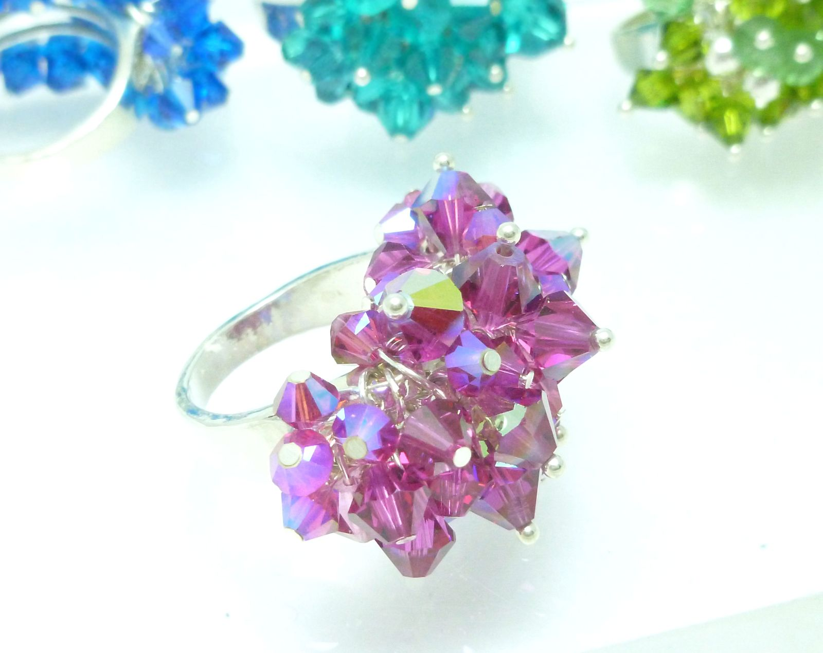 Swarovski Crystal Beaded Ring, Fuchsia, Sterling, Bling Size 7.25, Cha Cha