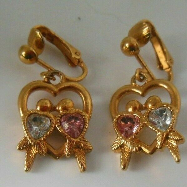 Primary image for Vintage Signed Avon Clip-on Dangle Earrings Love Birds Pink & Blue Stone