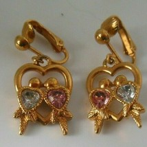 Vintage Signed Avon Clip-on Dangle Earrings Love Birds Pink & Blue Stone - $12.13