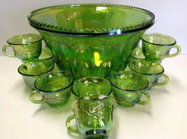 Indiana Glass Princess Green Carnival Punch Bowl Set W/12 Cups - $68.31