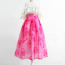 Summer Pink Floral Midi Party Skirt Outfit Organza Plus Size Midi Skirt Pockets image 1