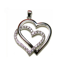 "Double Pave Heart Cubic Zirconia Roudium Plated Necklace 39MM -16 TO 18"" - $29.69"