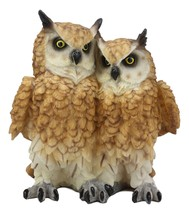 "Mystical Two Brown Great Horned Owl Couple Statue 7.25""H Whimsical Fores... - $25.99"