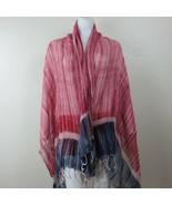 Vintage 80s Red Hand Dyed Long Rectangular Pashmina Neck Scarf Wrap 102c... - $35.59