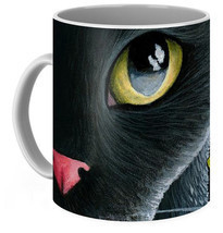 Coffee Mug Cup 11oz or 15oz Made in USA black Cat 557 butterfly art L.Dumas - $19.99+