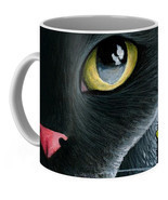 Coffee Mug Cup 11oz or 15oz Made in USA black Cat 557 butterfly art L.Dumas - £14.31 GBP+