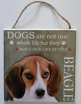 DOG LOVER PLAQUE Beagle Dogs Make Our Life Better 8x8 Wood Pet Wall Art