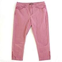 Lee Shapetastic Hidden Hold Capri Pants Women's Boyfriend Pink Denim Ankle Zip - $14.27