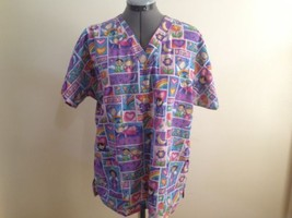 HQ Scrubs High Quality Basics Children Hearts and Flowers Double Pocket  - $10.70
