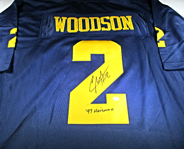 buy online 0e2f6 f1746 CHARLES WOODSON - HAND SIGNED MICHIGAN WOLVERINES BIG TEN FOOTBALL JERSEY -  COA
