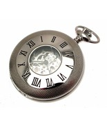 Pocket Watches For Men Silver Pocket Watch Half Hunter with Chain 119990... - $160.60