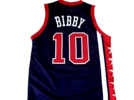 Mike Bibby #10 Team USA Basketball Jersey New Sewn Navy Blue Any Size image 2