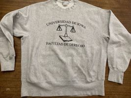 Iowa Law School Sweatshirt University Latin Reverse Weave XL Vintage Gussets image 5