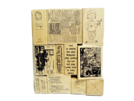 Set of 11 NEW Wood Mounted Rubber Stamps, Various
