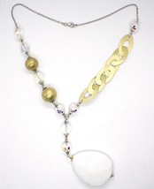 Silver necklace 925, Yellow, Drop, White Agate Large Oval Satin image 2