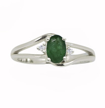 Beautiful !! Emerald & White Topaz Stone 925 Silver Jewelry Ring Size 7 ... - $17.75