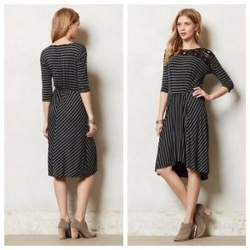 d230b78e23b6 57. 57. Previous. Anthropologie Tiny Dress Black and Gray Stripes Black  Lace Size XSP