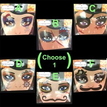 Gothic Punk Tattoo EYE DECALS Makeup Face Art Gems-PIRATE SKULL STACHE-C... - $3.93