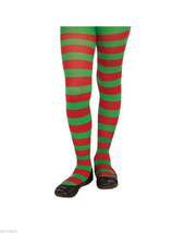 Child Red & Green Striped Tights Christmas Candy Cane Jolly Elf Santa's ... - $7.49