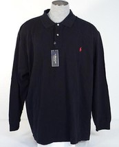 Ralph Lauren Black Long Sleeve Polo Shirt Red Polo Pony Men's NWT - $74.99