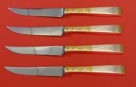 "Golden Scroll by Gorham Sterling Silver Steak Knife Set 4pc HHWS  Custom 8 1/2"" - $281.30"