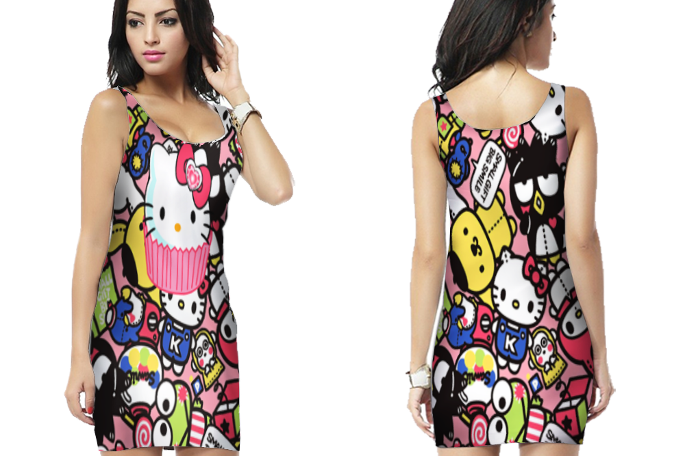 Hello Kitty cute Bodycon Dress For women image 1