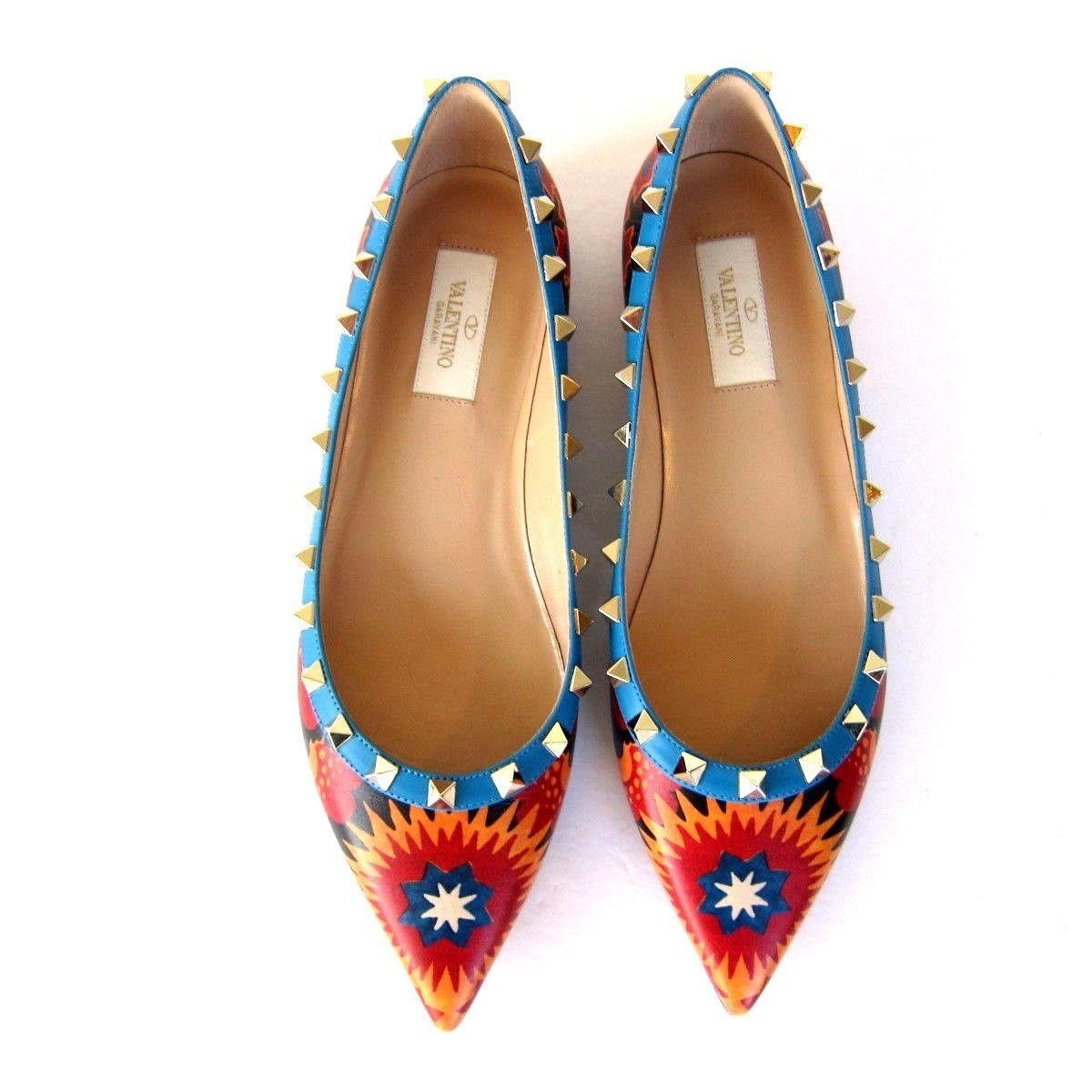 357ad6bb09a J-2657269 New Valentino Garavini Rockstud Flats Shoes Slip-on Size 38.5 US  8.5