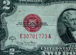Series 1928 Big Red Seal Two 2 Dollar US Note Old Paper Money - $19.49