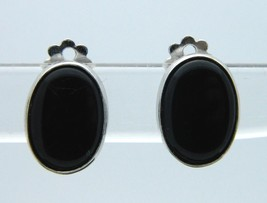 CORO Black Onyx Glass Oval Silver Tone Clip Earrings Vintage - $19.79
