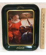 Coca Cola Tray Santa Claus Drinking a Coke Green Rectangle Christmas 10x13 - $8.90