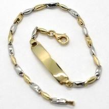 18K WHITE YELLOW GOLD BRACELET ENGRAVED PLATE ALTERNATE TUBE ONDULATE LINK image 1