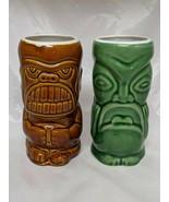 Tiki Mug Cup Green Brown Accoutrements Lot of 2 2004 #5 - $19.30