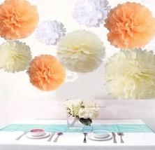 Krismile® Pack of 18PCS Mixed Sizes White Peach Ivory Tissue Pompoms Pap... - $465,55 MXN