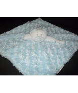 Blankets and Beyond Bear Baby Security Blanket White Blue Swirl Pacifier... - $18.79