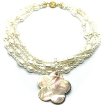 18K YELLOW GOLD 4 WIRES MULTI STRAND NECKLACE FLOWER MOTHER OF PEARL OVAL PEARLS image 1