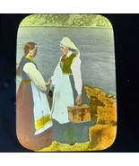 Vtg Magic Lantern Glass Slide Photo Hand Color Telemarken Norway Girls C... - $14.20