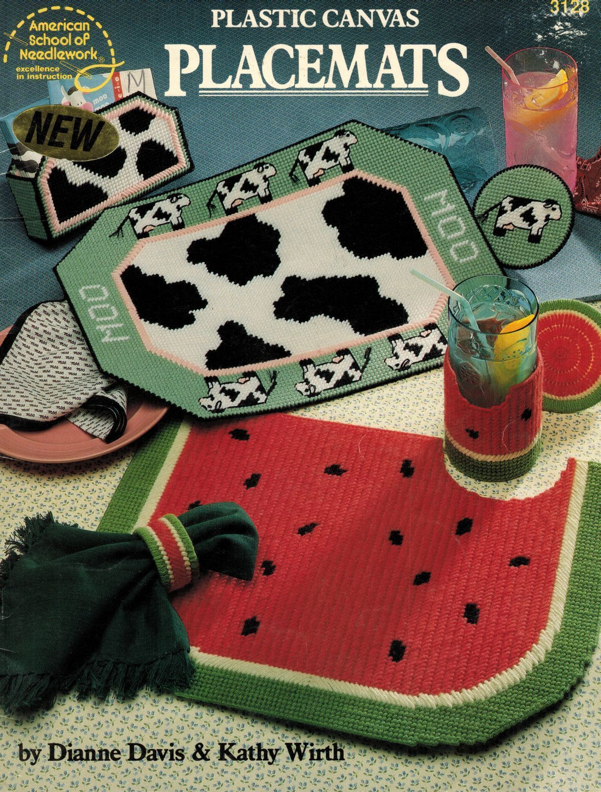 Primary image for Plastic Canvas Bear Buddy Rose Cows Watermelon Place Mats Coasters Pattern