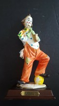 "Vintage Pucci Resin Clown Arnart 1985 Wood Base Playing Sax 9"" - $27.65"
