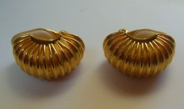 Signed GAY BOYER Vintage Gold-tone Dome Hoop Clip-on Earrings  - $37.62