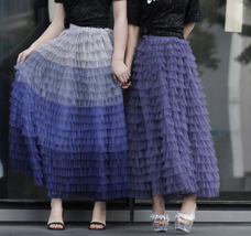 Tiered Tulle Maxi Skirt in Purple Violet Gray Tulle Layered Skirt for Adults  image 4