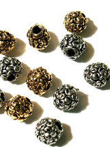 2 - Flowers Floral Round Fine Pewter Beads - 5mm 1.5mm Hole image 2