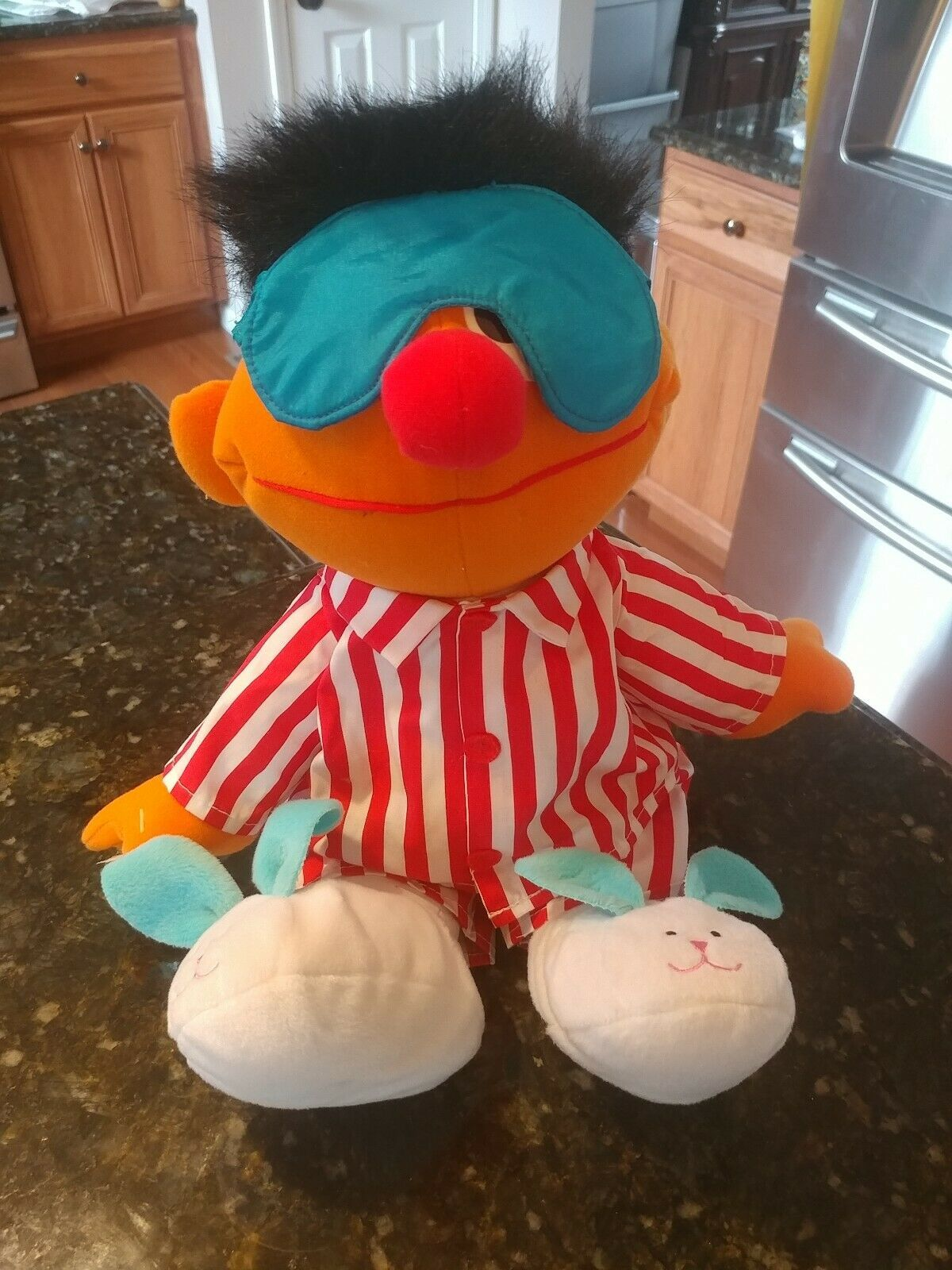 "TYCO Sesame Street Sleep & Snore Ernie Talking Singing Plush Doll 18"" EUC Works!"