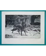 WOLVES in Forest Winter Snow Cover - 1876 Antique Print - $13.49