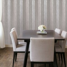 Wallpaper Rose Pink Silver Metallic Striped Modern Rolls Textured Lines ... - $3.50+