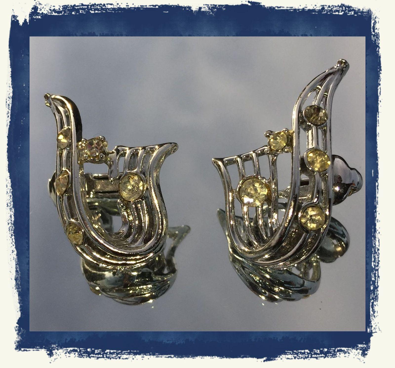 VTG 30s Silver Tone Openwork RIbbon Clear Paste Rhinestones Clip On Earrings~GVC